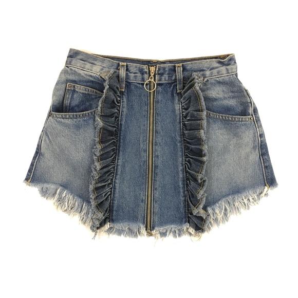 3ddbc30fa4 Carmar Skirts | Beatrice Ruffle Zip Denim Front Skirt 27 | Poshmark